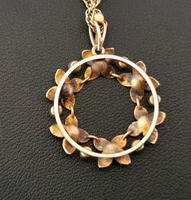 Antique Art Nouveau 15ct Gold Floral Pendant, Pearl & Turquoise, 9ct Gold Necklace (12 of 12)
