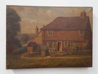 Pair of Primitive Antique Oil Paintings of Houses (6 of 6)