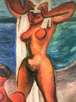 Original oil on canavas 'The sun worshippers' by Antonin (Tony) Bartl 1912-1998 (4 of 5)
