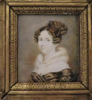 1820 Hand Painted Miniature Portrait Swept Gilt Frame (4 of 4)