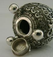 Stunning Indian Eastern Solid Silver Pepper Spice Pot Egg Shaped c.1880 (5 of 9)