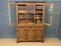 Victorian Carved Oak 3 Door Bookcase (19 of 23)