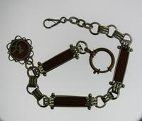 Pocket Watch Chain with Red Stones