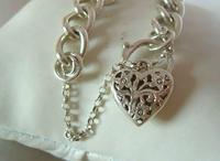 "Vintage Sterling Silver Bracelet 1976 Puffy Heart Padlock 6 1/2"" Length 21.8 Grams (5 of 12)"