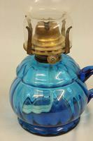 Antique Blue Glass Finger / Hand Oil Lamp (4 of 6)