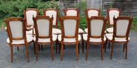 1960 Set of 10 Mahogany Dining Chairs. 8+2 Carvers. Neutral Upholstery (3 of 4)