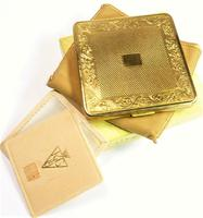1950s Gilded Brass Compact For Loose Foundation Unused (6 of 7)