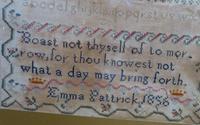 1856 Antique Needlework Sampler Emma Pattrick (5 of 8)