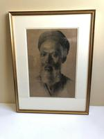 Charcoal Painting Of Man In Turban, Signed And Framed (2 of 9)