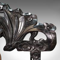 Antique Dinner Gong, Oriental, Ebonised Teak Stand, Chinoiserie, Victorian, 1880 (9 of 12)