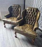 Pair of Leather Wing Chairs (2 of 10)