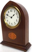 Solid Mahogany Lancet Cased Timepiece Clock with Satinwood Inlaid Decoration (5 of 9)
