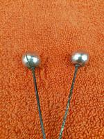 Pair of Antique Sterling Silver Ball Ended Hat Pins 7 Inches C1890 (6 of 6)