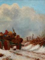 'The Loggers Return Home' Superb Antique Winter Landscape Oil on Canvas Painting (4 of 12)