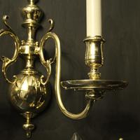 English Set of 3 Twin Arm Antique Wall Lights (4 of 10)
