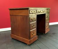 Small Antique Edwardian Leather Bound Mahogany Twin-Pedestal Writing Desk (3 of 16)