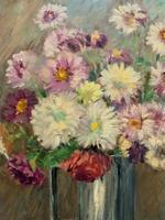 Lovely Original Early 20thc French Impressionist Still Life Floral Oil Painting (9 of 12)