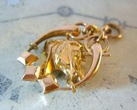 Victorian Pocket Watch Chain Horse & Pony Fob 1890s 10ct Rose Gold Filled Equestrian Fob (3 of 9)