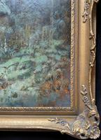Very Large Outstanding 19th Century British Winter Snow-capped Landscape Oil Painting (11 of 13)