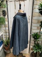 Antique French handmade indigo blue striped linen cape or cloak with black wool collar one size (10 of 10)
