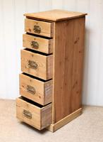 Tall Slim Pine Chest of Drawers (5 of 10)