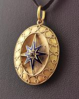 Victorian Diamond Star Pendant, Blue Enamel, 9ct Gold (4 of 11)