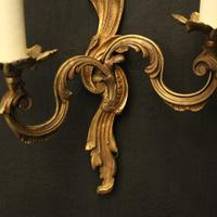 French Pair of Gilded Twin Arm Wall Lights (7 of 10)