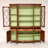 Antique Yew Wood Sheraton Style Breakfront Bookcase (9 of 12)