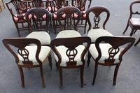 1960's Set 6 Mahogany Balloon Back Dining Chairs in pale Upholstery (3 of 3)