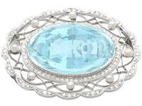 43.84 ct Aquamarine, 0.85 ct Diamond and Pearl, Platinum Brooch - Antique Circa 1910 (9 of 9)