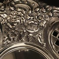 Pair of Flat Silver Swags Flowers & Grille Bon Bon Dishes (6 of 7)