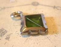 Vintage Pocket Watch Chain Fob 1950s Victorian Revival Chrome & Green Glass Fob (3 of 4)