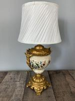 Victorian Gilded Spelter & Ceramic Table Lamp, Rewired & Pat Tested, Shade Included (5 of 10)