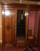 1920s Large 3 Door Mirrored Mahogany Maple and Co Wardrobe (2 of 8)