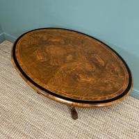 Victorian Oval Figured Walnut Inlaid Antique Side Table (4 of 7)