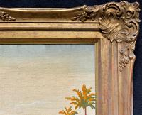 Large Elegant 20th Century Vintage Antique Embroidery Wall Hanging in Gilt Frame (10 of 12)