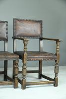 6 Cromwellian Style Brown Leather Dining Chairs (5 of 12)