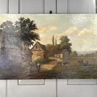 Antique Landscape Oil Painting of Farm Buildings with Cows Signed WP Cartwright 1892 (3 of 10)
