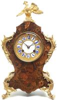 Wow! Phenomenal French Boulle Mantel Clock Multi Wood floral inlay 8 Day Mantle Clock (4 of 6)