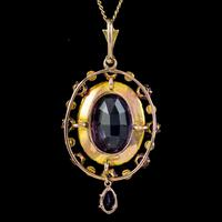 Antique Victorian Amethyst Pearl Pendant Necklace 9ct Gold 12ct Amethyst c.1900 (3 of 8)