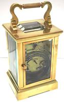 Good Antique French 8-day Carriage Clock Bevelled Case Large Dial & Carry Handle (9 of 13)