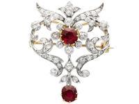 2.05ct Ruby & 1.70ct Diamond & 12ct Yellow Gold Brooch - Antique c.1910