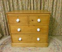 Victorian Stripped Pine Chest with 4 Drawers & White Porcelain Knobs (8 of 9)