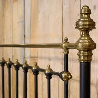 Late Victorian Brass & Cast Iron Antique Bed in Black (6 of 7)