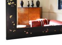 Pair of Black Lacquer Japanese Decorated Wall Mirrors c.1910 (13 of 14)