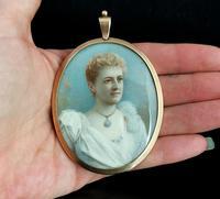 Antique Portrait Miniature, Mourning Pendant, 9ct Gold (4 of 12)