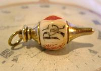 Antique Pocket Watch Chain Fob 1890s Victorian Large Brass & Bone Gambling Fob (5 of 9)