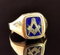 Vintage 9ct Gold Masonic Swivel Ring, Signet, Blue Enamel (2 of 13)