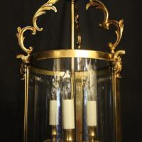 French Gilt Bronze Convex Antique Hall Lantern (3 of 10)