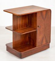 Unusual Art Deco Walnut Open Bookcase